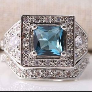 Jewelry - Blue and white topaz 925 silver wedding set